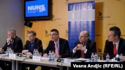 Nemačka delegacija na konferenciji za novinare u Beogradu, 19. mart 2013.