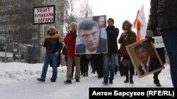 Բորիս Նեմցովի հիշատակին նվիրված երթ Նովոսիբիրսկում, 25-ը փետրվարի, 2018թ.