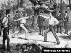 """""""Французский поединок в Булонском лесу Парижа"""". Дюран, 1874 год."""