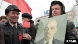 Russian Communists march to mark the 92nd anniversary of the revolution in Moscow.