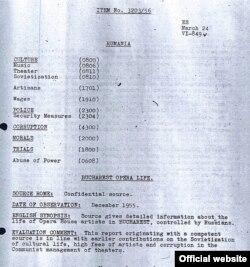 Unul din documentele de arhivă RFE referitoare la Opera română