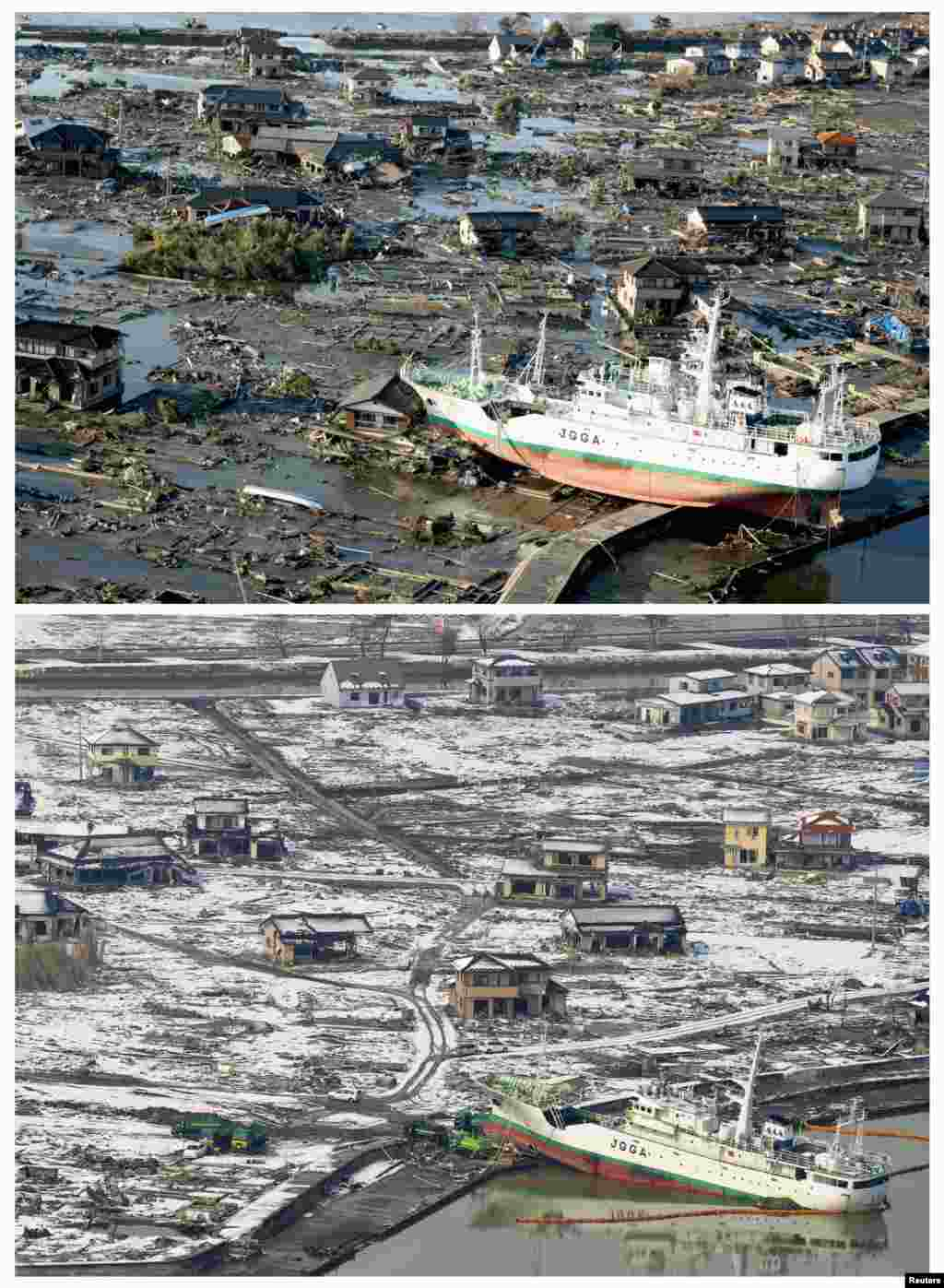 On top, the tsunami-devastated city of Higashimatsushima in Miyagi Prefecture on March 12, 2011, and below, on March 3, 2012