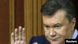 Ukraine President Viktor Yanukovych delivers his annual address to parliament.