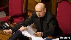 Исполняющий обязанности президента Украины Александр Турчинов. Киев, 23 февраля 2014 года.