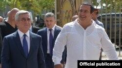 Armenia - President Serzh Sarkisian (L) and businessman Gagik Tsarukian make a joint public appearance, Yerevan, 11Sep2015.
