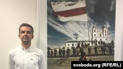 Саша Філіпенка ў праскім офісе Свабоды.