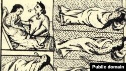 Эпидемия середины 16 века в Мексике, иллюстрация из Флорентийского кодекса. Раньше думали, что это оспа, но теперь ученые определили, что это не оспа, а брюшной тиф