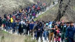 Архива - Фотографија од 2016 година кога мигранти во Грција се обидувааат да најдат алтернативен начан да ја поминат границата со Македонија.