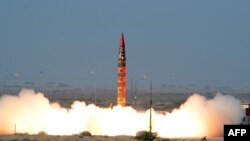 A Shaheen 1A nuclear-capable, surface-to-surface ballistic missile is launched from an undisclosed location in Pakistan in December 2015.