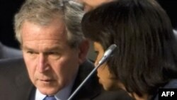 U.S. President George W. Bush and Secretary of State Condoleezza Rice