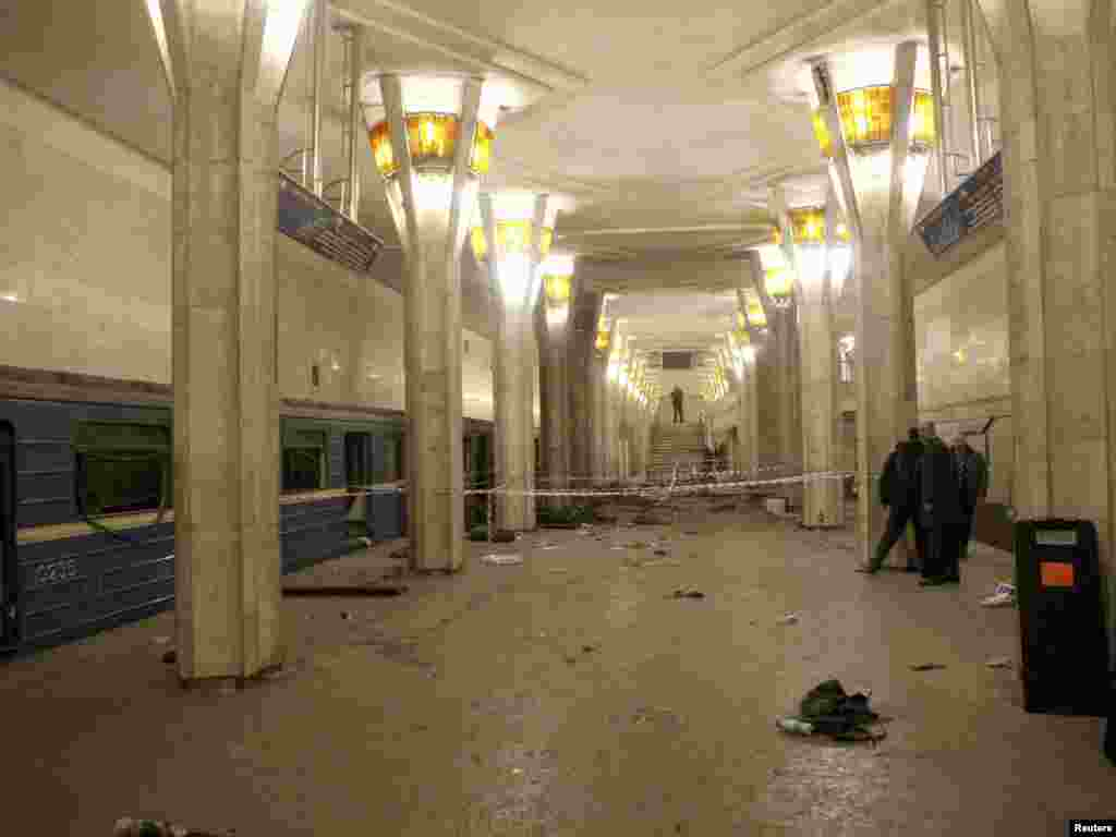 The site of the explosion in the Minsk subway.