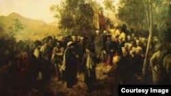 Шамил имам ва гиназ Барятинский. Гъуниб, 1859 соналъул 25 август. Теодор Горшелдица бахъараб сурат.
