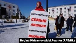 Миляуша Терскова на митинге против программы переселения из аварийного жилья в Зеленодольске. 10 марта 2019 года