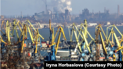 The port of Mariupol, with its vast steelworks in the background
