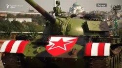 Тенк пред стадионот на Црвена звезда во Белград