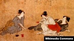 Торыі Кіёнага. Тры п'яныя жанчыны, 1787