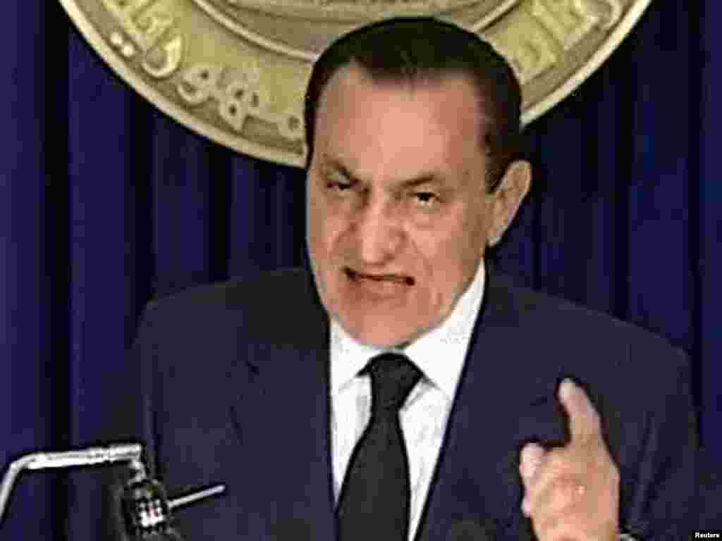 Mubarak addresses the nation on state TV on February 1, announcing he would not seek reelection.