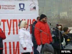 Ольга Демичева и Семен Гальперин на митинге медиков 2 ноября 2014 г.