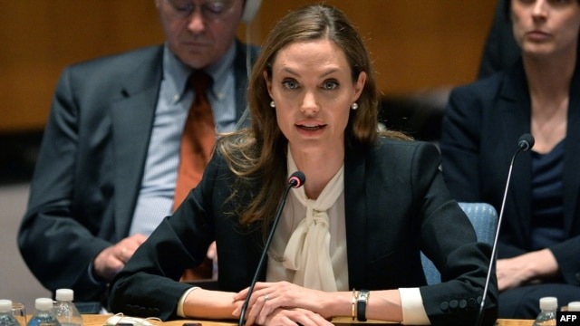 Angelina Jolie said she wanted to dedicate the conference to a rape victim she recently interviewed in Bosnia-Herzegovina.