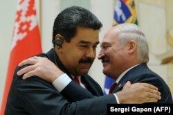 Аляксандар Лукашэнка і Нікаляс Мадура падчас прэс-канфэрэнцыі ў Менску, 5 кастрычніка 2017