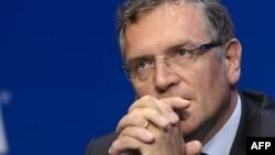 Жероме Вальке в бытность генеральным-секретарем Международной федерации футбола (ФИФА). Цюрих, 30 мая 2015 года.