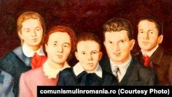 Familia Ceaușescu (ulei pe pânză) de Dumitru Rusu. Pânza a fost oferită de C.J. de partid Suceava; 4 ianuarie 1979, Muzeul Național de Istorie, inv. S 7070, sursa: comunismulinromania.ro