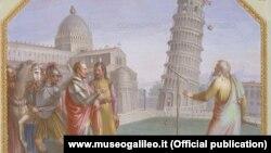 Galileo Galilei əyilmiş Pisa qülləsində təcrübələr edir. Rəssam Luigi Catani (1762-1840).