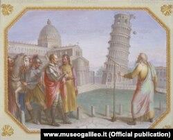Галилео Галилей проводит эксперимент с Пизанской башней