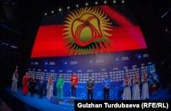 Дүйнө чемпионатында Кыргызстандын гимни жаңырып жаткан учур. Нур-Султан шаары. 19-сентябрь, 2019-жыл.
