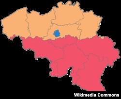 Мапа Бэльгіі. Валёнская частка пазначана чырвоным, флямандзкая - аранжавым, а Брусэль - сінім.