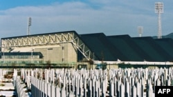A cemetery for those who died in the siege of Sarajevo, built on a football pitch in front of the Zetra Olympic hall in Sarajevo (file photo)