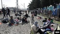 Izbeglice u kampu Idomeniju, 1. mart 2016.