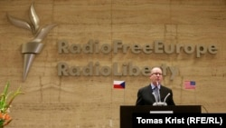 Czech Republic--Czech Prime Minister Bohuslav Sobotka speaking at the National Museum on RFE/RL's 20th anniversary in Prague. June 30, 2015.