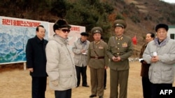 North Korean leader Kim Jong-il (in sunglasses) inspecting a power station's construction site on March 26.