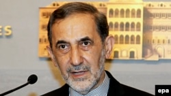 Lebanon -- Ali Akbar Velayati, advisor to Iran's supreme leader, speaks to media after his meeting with Lebanese Prime Minister in Beirut, May 18, 2015