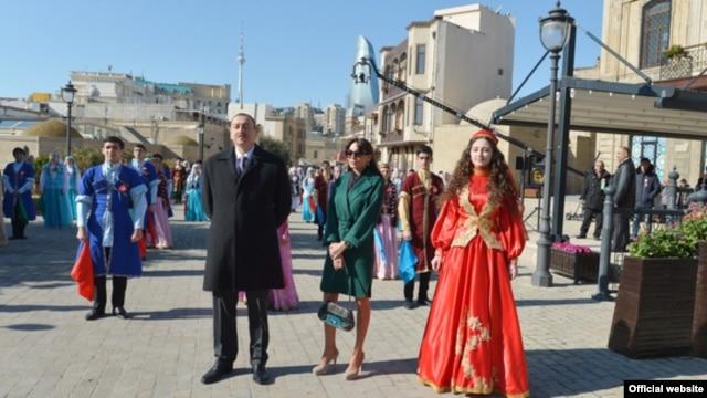Azerbaijan - President Ilham Aliyev and his wife Mehriban attend Nowruz celebrations in Baku, 19Mar2014.