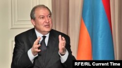 Armenia - President Armen Sarkissian is interviewed by RFE/RL, Yerevan, 27 April 2018.