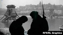 Солдат і жінка на тлі зруйнованого Будапешта (колаж)