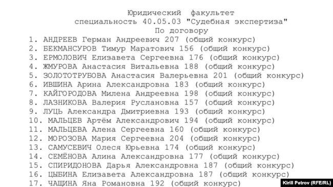 Бекмансуров недавно был зачислен на юридический факультет