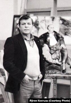 Леанід Шчамялёў у майстэрні, 1983 год