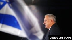 The chairman of the Israel Resilience party Benny Gantz speaks during an electoral campaign gathering, in Tel Aviv, February 19, 2019
