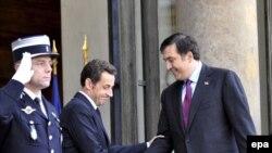 Президент Франции Н.Саркози и президент Грузии М.Саакашвили в Париже, 13.11.2008