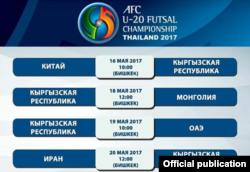 Расписание матчей молодежной сборной КР на чемпионате Азии.