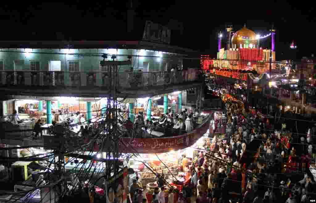 The Lal Shahbaz Qalandar shrine, which was hit on February 16 by a suicide bomb attack. The shrine is a revered site for Sufis, a minority sect of Islam.