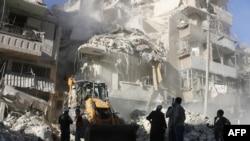 La Alep, după bombardamentele trupelor guvernamentale, 24 septembrie 2016