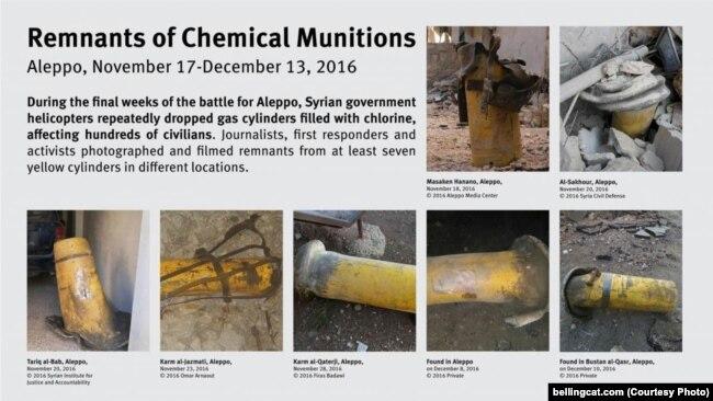 Желтые газовые баллоны с хлором, найденные в разное время после химических атак в Сирии