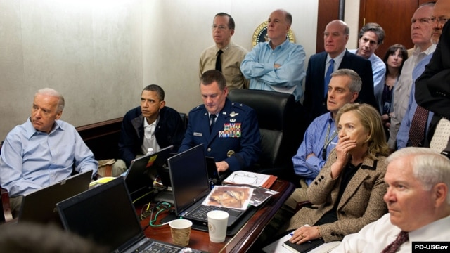 An official photo of U.S. President Barack Obama (second from left) and other senior officials in the Situation Room of the White House on May 1, 2011, receiving an update on the mission against Osama bin Laden.