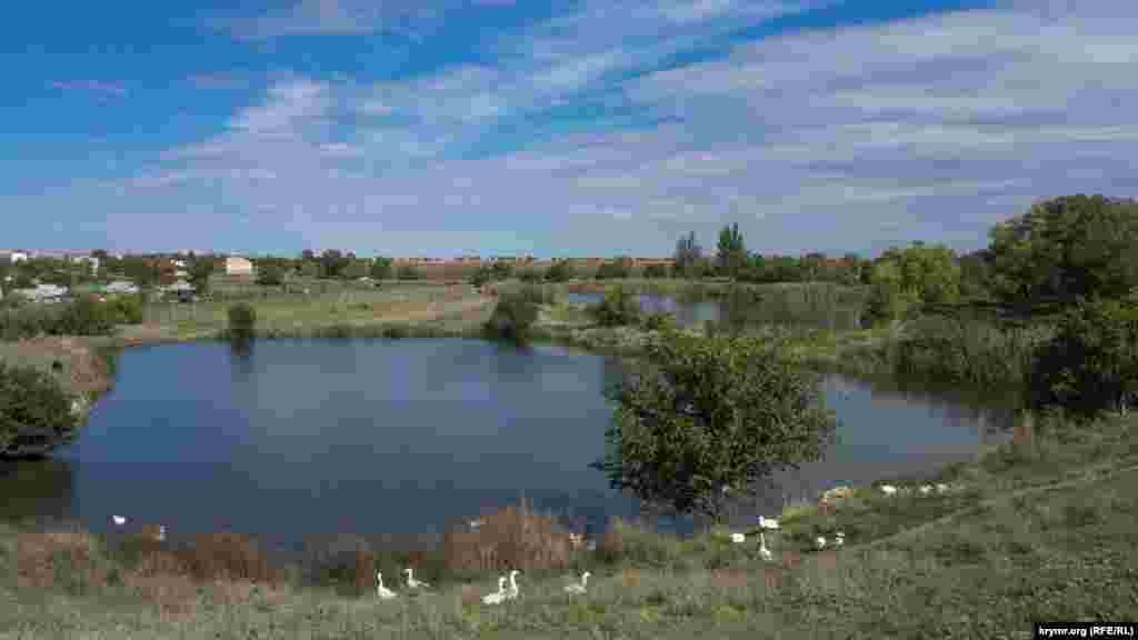 Два сільських ставки та футбольне поле видно з шосе Сімферополь – Євпаторія