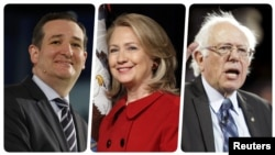 از راست: سندرز، کلینتون، کروز