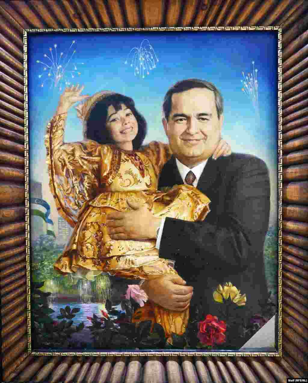 Картина 1993 года. На ней Каримов изображен держащим на руках девочку, а за его спиной взрываются фейерверки. Самым кровопролитным инцидентом за время правления Каримова стало вооруженное подавление узбекскими силовиками антиправительственных выступлений в Андижане на востоке страны. Во время тех событий погибли сотни людей.